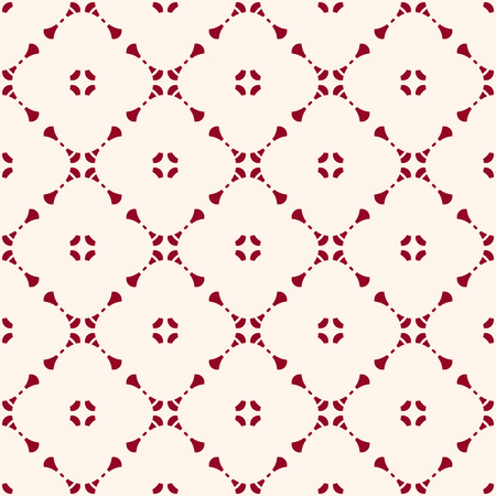 Vector geometric floral seamless pattern with small flower shapes, delicate grid, net, mesh, lattice. Simple abstract background in white and burgundy color. Elegant ornament texture. Repeated design