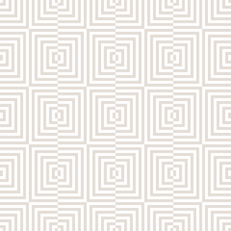 Subtle vector geometric seamless pattern with squares, lines. Optical art. Abstract white and beige checkered texture. Modern stylish linear background. Repeat design for decor, wallpapers, wrapping Illustration