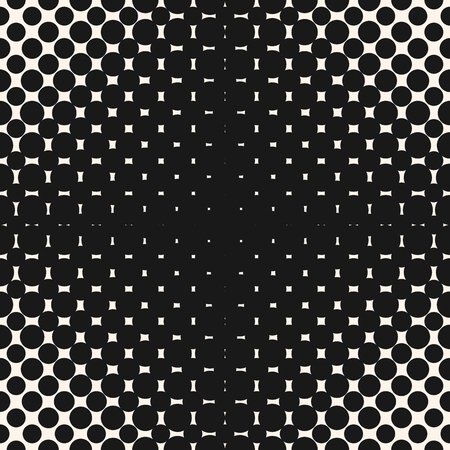 Vector geometric halftone seamless pattern with circles, dots, spots. Modern abstract black & white texture with radial gradient transition, optical illusion effect. Repeat monochrome background