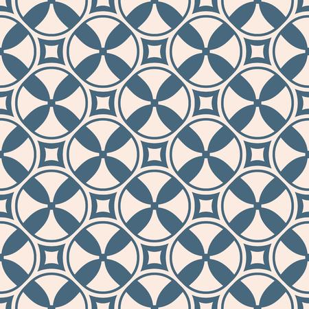 Funky geométrico de patrones sin fisuras con cruces, círculos, cuadrados, hélices. Fondo abstracto azul y rosa pálido. Textura simple vector colorido. Diseño repetitivo para decoración, impresión, paquete, textil.
