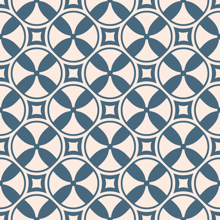 Funky geometric seamless pattern with crosses, circles, squares, propellers. Abstract blue and pale pink background. Simple colorful vector texture. Repeating design for decor, print, package, textile