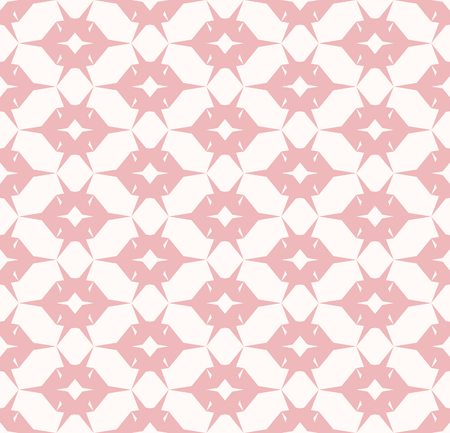 Vector geometric seamless pattern. Simple ornament with grid, net, mesh, lattice, repeat tiles. White and pink texture. Minimal abstract background. Cute modern repeatable design for decor, wallpapers Stock Illustratie