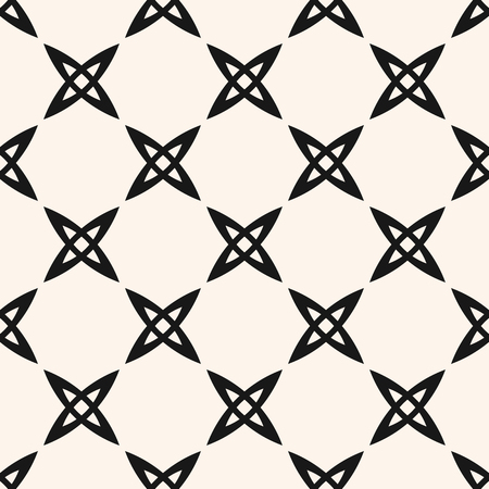 Vector geometric seamless pattern with small crosses, abstract flowers, grid. Simple black and white texture. Modern minimal monochrome background. Repeating design for decor, wallpaper, fabric, cloth Ilustrace