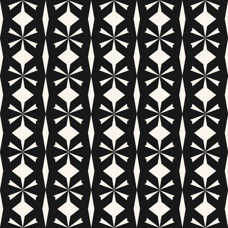 Vector seamless geometric pattern. Black and white abstract texture with floral shapes, grid, lattice, net. Ethnic tribal motif ornament. Simple monochrome background. Repeat design for decor, prints