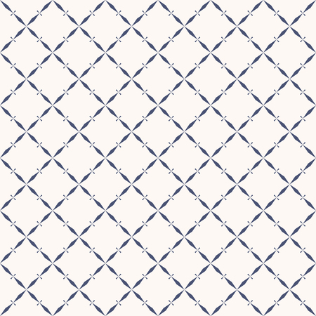 Vector abstract geometric seamless pattern with grid, lattice, net, diagonal cross lines, rhombuses, repeat tiles. Elegant ornament texture in oriental style. Luxury navy blue and white background 矢量图像