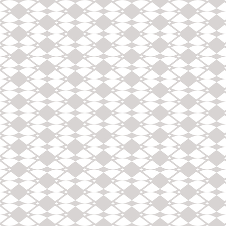 Elegant vector mesh seamless pattern. Subtle geometric ornament texture with curved shapes, delicate net, grid, lattice, lace. White and gray abstract background. Design for decor, fabric, wallpapers