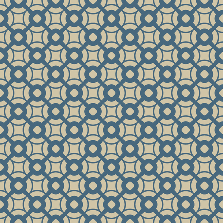 Vector geometric seamless pattern in Asian style. Blue and gold traditional Chinese ornament. Luxury ornamental texture. Elegant abstract repeat background with circles, curved shapes, grid, lattice