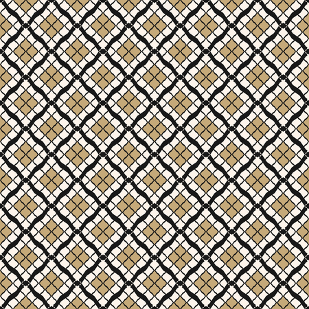Vector geometric seamless pattern in Arabian style. Luxury abstract background. Simple graphic ornament. Elegant black, white and gold texture with small diamonds, rhombuses, mesh, grid, repeat tiles Vector Illustratie