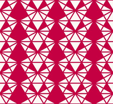 Vector geometrische driehoeken naadloze patroon. Elegante rode en witte achtergrondstructuur. Abstract ornament met kleine driehoekige vormen, diagonale lijnen, raster, net, rooster. Eenvoudig herhaalbaar ontwerp