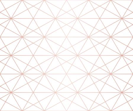 Modello in oro rosa. Struttura senza giunte di linee geometriche di vettore. Ornamento dorato con griglia delicata, reticolo, rete, esagoni, triangoli, rombi. Sfondo grafico astratto. Design ripetibile di alta qualità