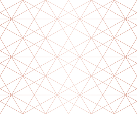 Rose gold pattern. Vector geometric lines seamless texture. Golden ornament with delicate grid, lattice, net, hexagons, triangles, rhombuses. Abstract graphic background. Premium repeatable design