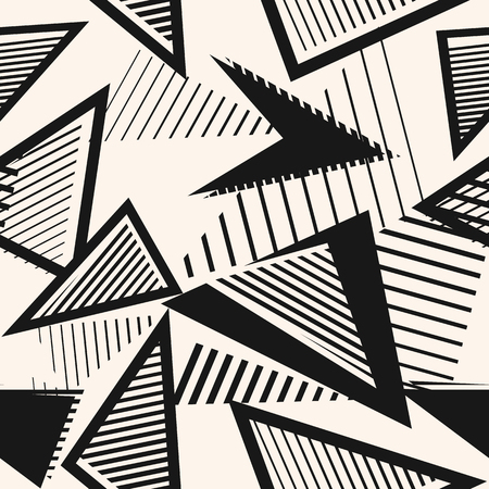 Abstract black and white seamless pattern. Sport style texture with chaotic shapes, triangles, arrows, lines, stripes. Monochrome urban art vector background. Simple repeat design for print, decor Ilustração Vetorial