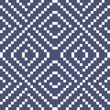 Vector geometric traditional knitted ornament. Fair isle seamless pattern. Folklore ethnic motif. Simple ornamental texture with small squares, crosses. Navy blue background. Repeatable design