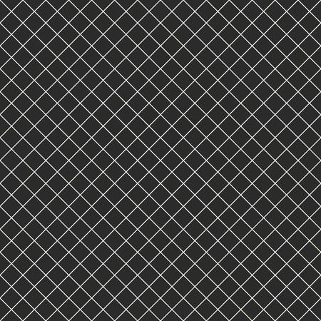 Modèle sans couture de vecteur de grille carrée. Texture noire et blanche géométrique abstraite simple avec de fines lignes croisées diagonales, losanges, maille, treillis, grill. Fond quadrillé sombre subtil, répétez les tuiles