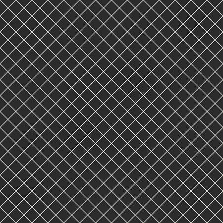 Square grid vector seamless pattern. Simple abstract geometric black and white texture with thin diagonal cross lines, rhombuses, mesh, lattice, grill. Subtle dark checkered background, repeat tiles