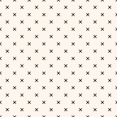 Vector minimalist geometric seamless pattern with small squares, crosses, tiny flower shapes, dots. Simple minimal black and white texture. Pixel art background. Monochrome repeated decorative design