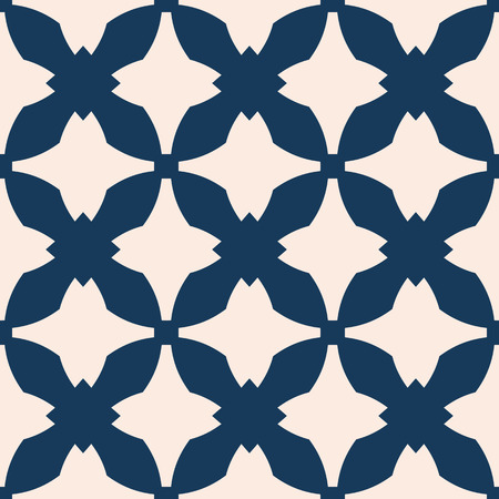 Vector abstract ornamental seamless pattern. Elegant texture in gothic style. Ornament background with curved shapes, crosses, grid, net, repeat tiles. Deep blue and beige color. Design for decoration