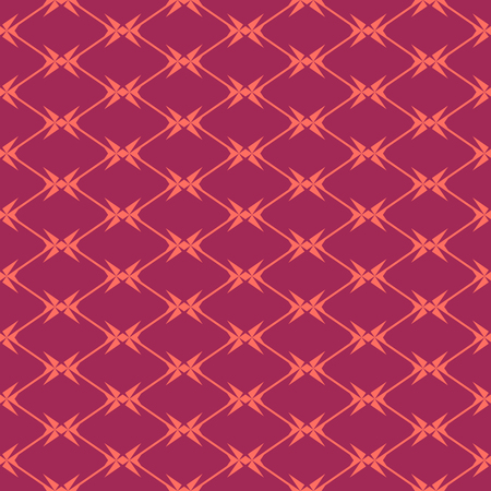 Diamond grid seamless pattern. Vector geometric texture with rhombuses, net, mesh, lattice, grill, fence, wire. Simple abstract background in burgundy and coral color. Repeat design for decor, fabric Stock Illustratie