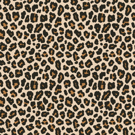 Leopard print. Vector seamless pattern. Animal skin background with black and brown spots on beige backdrop. Abstract exotic jungle texture. Repeat design for decor, fabric, textile, wallpapers, cloth