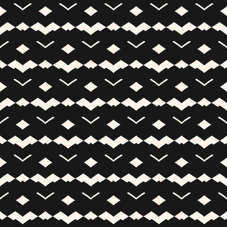 Tribal seamless pattern. Abstract black and white geometric texture. Vector graphic ornament background with lines, small rhombuses, triangles, zigzag lines, chevron. Simple monochrome repeated design