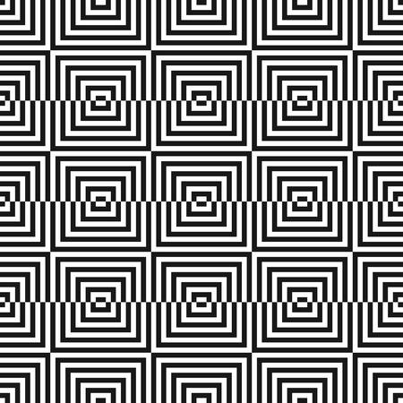 Modèle sans couture géométrique monochrome de vecteur avec des carrés, des lignes. Effet d'illusion d'optique. Texture carrée noire et blanche abstraite. Fond linéaire élégant moderne. Répétez la conception pour le décor, les impressions Vecteurs
