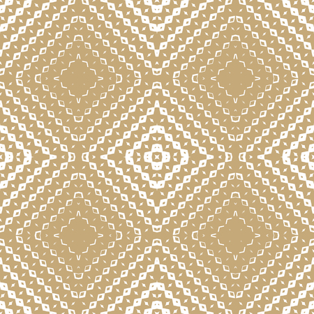 Vector golden geometric seamless pattern with small rhombuses, diamond shapes, lines, squares, grid. White and gold ornamental background with halftone transition effect. Luxury repeatable texture 矢量图像