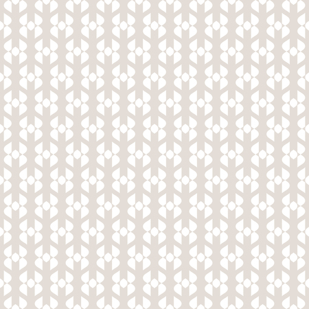 Vector abstract geometric seamless pattern. Subtle beige and white texture with curved shapes, delicate mesh, grid, fabric. Simple repeat background. Ethnic tribal motif. Decorative design element Vector Illustratie
