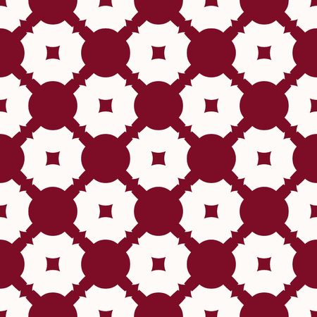 Vector abstract geometric seamless pattern with smooth grid, net, lattice, repeat tiles, circles, squares. Dark red and white ornament texture. Elegant decorative background. Design for decor, textile Vector Illustratie