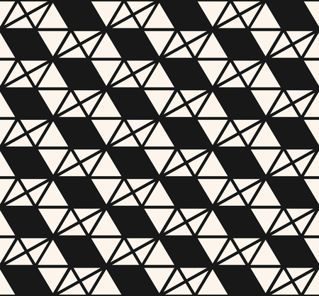 Abstract triangles vector pattern. Black and white geometric seamless texture with small triangles, rhombuses, zigzag stripes, hexagonal grid, net. Stylish monochrome graphic background. Repeat design
