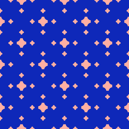Colorful geometric seamless pattern. Simple minimal vector abstract texture with small crosses, floral shapes. Bright blue and pink color. Funky minimalist background. Repeat design for decor, covers Illustration