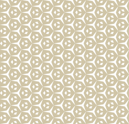 Vector golden geometric seamless pattern with small diamond shapes, triangles, hexagonal grid, lattice. Elegant abstract ornament texture. White and gold background. Repeat design for decor, curtains