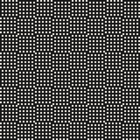 Vector monochrome geometric seamless pattern with small squares, lines, grid, mesh, lathing. Abstract black and white checkered texture. Simple minimalist background. Repeat design for decor, prints