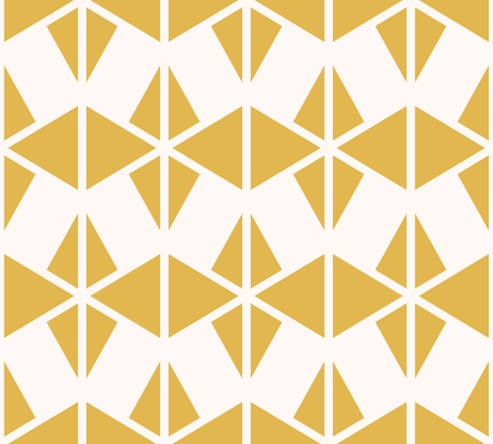 Vector geometric triangles seamless pattern. Elegant yellow and white background texture. Abstract ornament with triangular shapes, rhombuses, grid. Modern geometry. Simple repeat decorative design