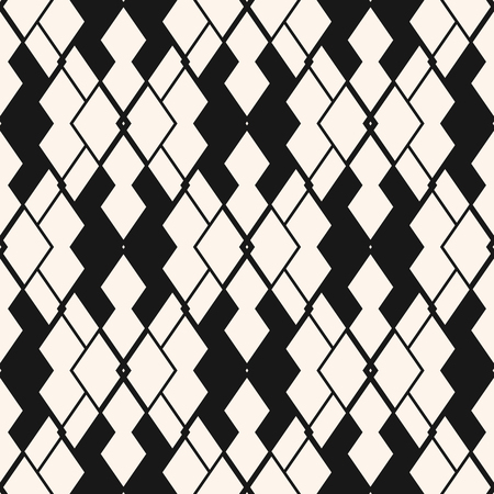 Vector abstract geometric seamless pattern. Tribal ethnic motif. Black and white ornamental texture with rhombuses, diamonds, lines, grid, net, mesh. Simple monochrome background. Repeatable design