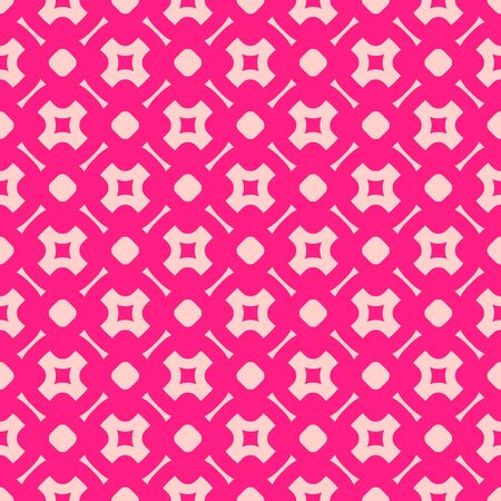 Cute colorful vector seamless pattern. Abstract geometric texture with crosses, circles, squares, lines, grid. Pink and magenta colors. Simple repeat background. Design for decor, wrapping, prints