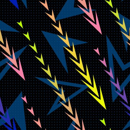 Abstract geometric seamless pattern with diagonal gradient lines, arrows, triangles, tracks. Extreme sport style texture, urban art background. Vibrant colors, blue, pink, yellow. Trendy repeat design Illusztráció