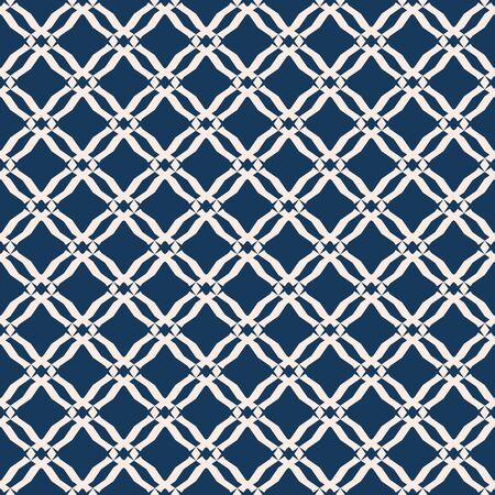 Grid pattern. Vector abstract geometric seamless texture with mesh, net, lattice, small diamond shapes, rhombuses. Elegant dark blue and beige background. Repeated design for decor, furniture, fabric