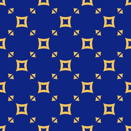 Vector geometric seamless pattern. Colorful texture with small triangles, squares, grid. Abstract repeat background in yellow and navy blue colors. Funky style minimal design for decor, wallpapers