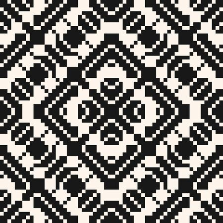 Vector geometric traditional folk ornament. Black and white seamless pattern. Ornamental background with small squares, crosses, snowflakes, flower shapes. Monochrome texture of embroidery, knitting Illusztráció