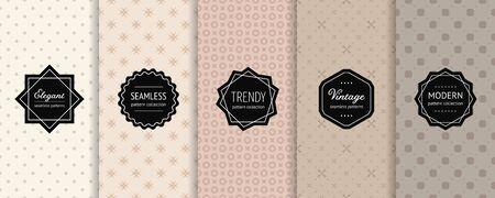 Vector minimalist geometric seamless patterns collection. Set of minimal abstract background swatches with elegant modern labels. Subtle design in pastel tones. Beige, caramel, sandy, brown colors Ilustração
