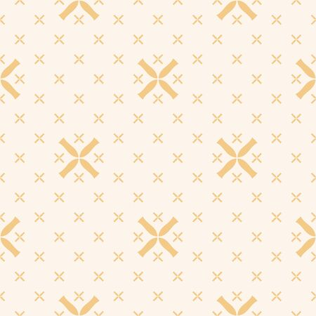 Vector geometric seamless pattern with small flowers, crosses. Elegant minimalist texture in light yellow and beige color. Abstract minimal repeat background. Subtle design for decor, wallpaper, cloth