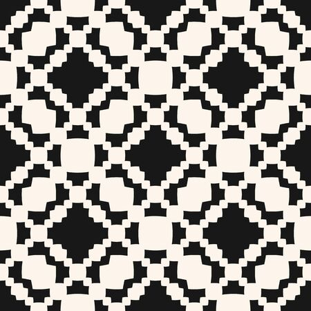 Vector geometric seamless pattern with curved shapes, grid, chains, crosses, mesh, net, repeat tiles. Abstract black and white checkered texture. Simple monochrome background. Design for decor, print Illusztráció