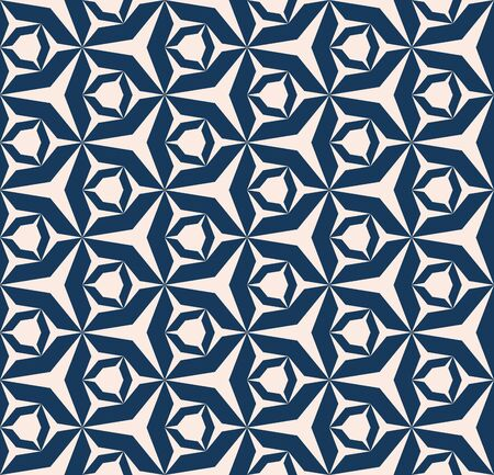Vector geometric seamless pattern. Ornament with hexagons, triangles, diamonds, grid, net, repeat tiles. Ornamental background in dark blue and beige color. Simple modern texture. Abstract design