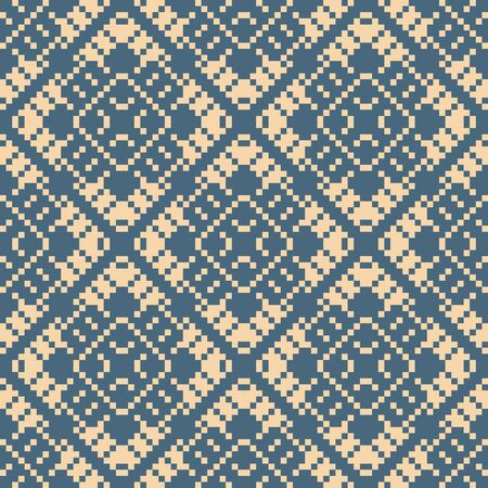 Vector geometric traditional folk ornament. Retro vintage seamless pattern in blue and beige colors. Ornamental background with small squares, flowers, snowflakes. Texture of embroidery, knitting Ilustracje wektorowe