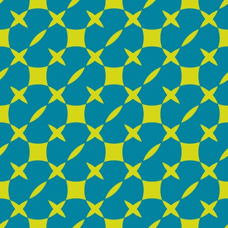Patrón transparente geométrico colorido brillante. Textura abstracta simple vector con cuadrados, cruces, círculos, trazos. Color turquesa y verde lima. Fondo funky minimalista. Diseño moderno y elegante Ilustración de vector