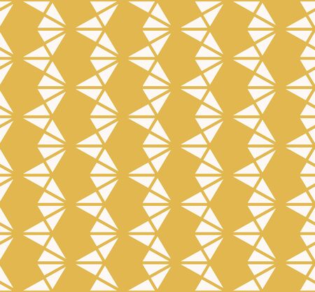 Vector geometric triangles texture. Yellow and white seamless pattern. Abstract ornament with triangular shapes, rhombuses, grid, net. Simple modern repeat background. Design for decor, wallpapers