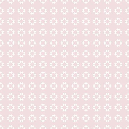 Subtle vector floral geometric texture. Abstract seamless pattern with small rhombuses, diamonds, tiny flower shapes. Cute light pink and white ornament. Repeat design for decor, textile, wallpapers Illustration