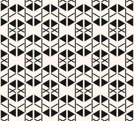 Vector geometric triangles texture. Modern seamless pattern. Black and white abstract ornament with small triangular shapes, crosses, lines. Stylish monochrome graphic background. Repeating design