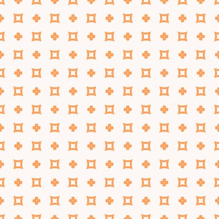 Simple minimalist floral texture. Geometric seamless pattern with small flower silhouettes, crosses, squares. Orange and beige color. Vector abstract minimal repeat background. Cute decorative design