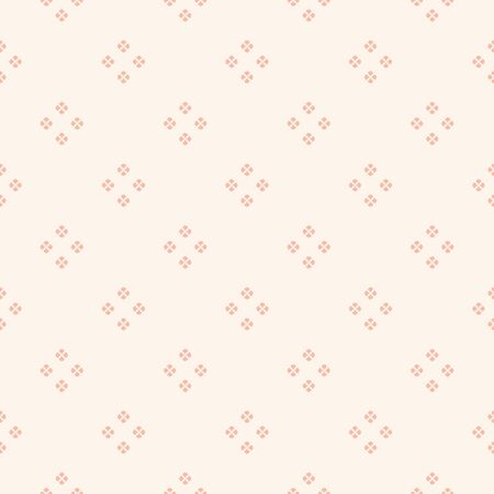 Vector minimalist floral geometric seamless pattern. Simple abstract texture with tiny flower silhouettes, dots, petals, leaves. Subtle pink and beige background. Repeating design for decor, textile